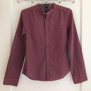 Earl Jeans Purple & Gold Metallic Stripe Blouse